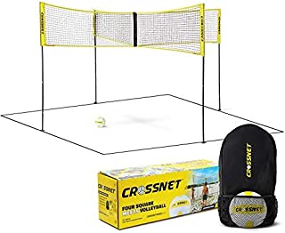 CROSSNET Four Square Volleyball Net and Backyard Yard Game Complete Set with Carrying Backpack & Ball for Kids and Adults