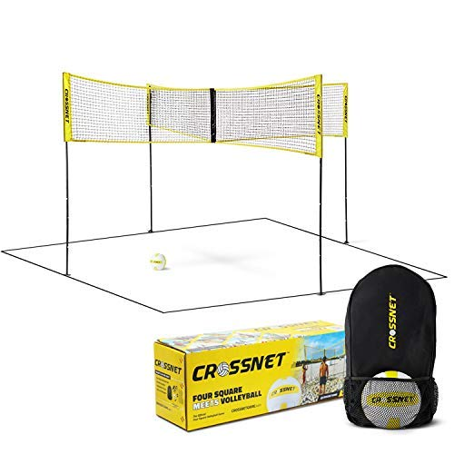 CROSSNET Four Square Volleyball Net & Game Set - Volleyball Set for Backyards - Yard Games for Kids and Adults Game Four Square Volleyball - Includes Poles, Carrying Backpack & Ball