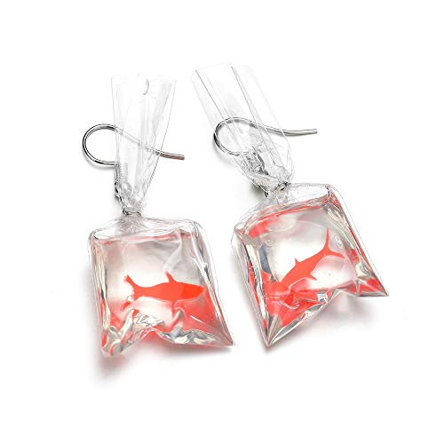 PPX Mode Boucles d'oreilles de Poisson Rouge Sac d'eau Crochet d'oreille Cadeau Parfait Rorme de Poisson Rouge dans un Sac Rempli d'eau (rouge)