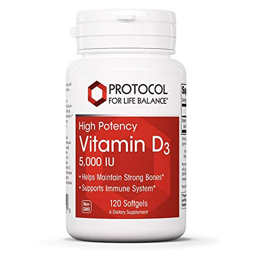 Protocol For Life Balance - Vitamin D3 5000 IU (High Potency) Supports Calcium Absorption, Bone and Dental Health, Immune System Function, Nervous System, and Cognitive Function - 120 Softgels