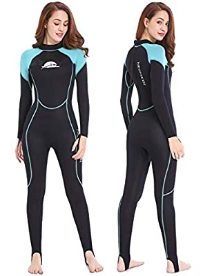 NeopSkin Diving Skin Women Men Youth 2mm Neoprene Wetsuit One Piece Full Body Dive Suit Thin Wet Suits for Scuba Diving Snorkeling Surfing Swimming (Women's Black/Aquamarine, Women's Large)