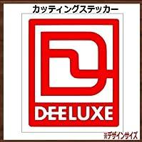 【枠ロゴ】DEELUXE ディーラックス カッティングステッカー (レッド, 縦10x横8cm 1枚)