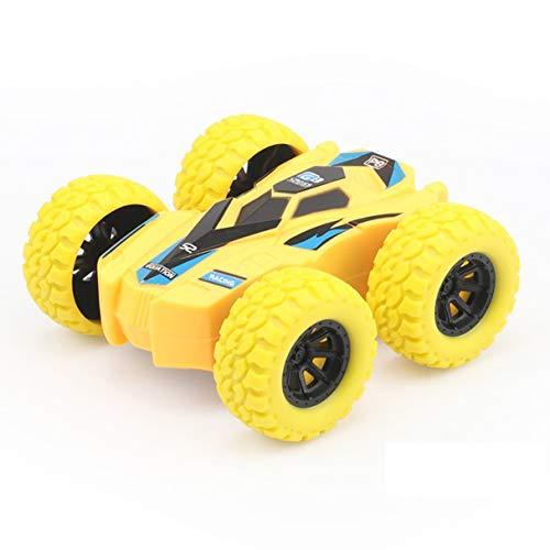 Niños Inercia Camión volquete de Doble Cara Resistente a caídas 360 Tumbling Spinning Toy Car Convertido en Kid Gift Toys Amarillo