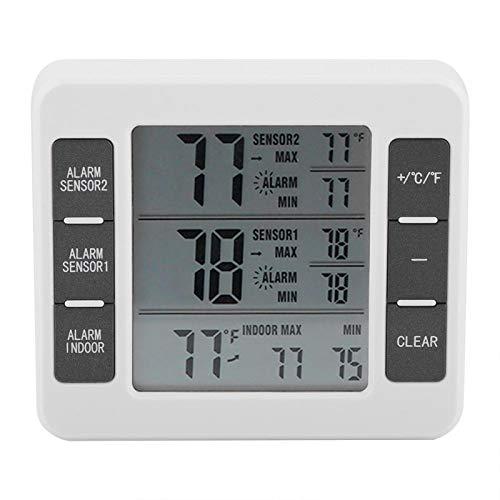 Termómetro Digital Impermeable para Frigorífico, Termómetro LCD Grande para Frigorífico Y Congelación, Termómetro de Alarma con Pantalla Mínima/Máxima con 2 Sensores para...