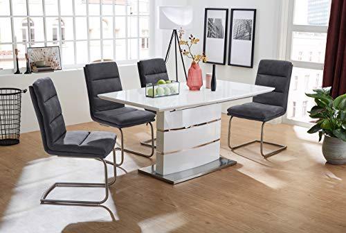 lifestyle4living Esstisch in Hochglanz Weiß, Auszugstisch mit Butterlfy-Einlage in den Maßen 160-200 x 90 cm, rechteckiger Küchentisch