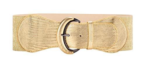 VOCHIC PU Leather Elastic Gold Wide Belt for Women Ladies Dress Stretch Thick Waist Belts 1960's Womens Accessories Belt