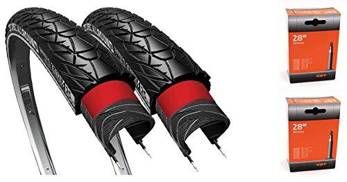 CST 2 x Reifen 28 37-622 28x1 3/8 x1 5/8 mm Sensamo Allround Reflektorstreifen Schwarz Fahrrad Reifen (2X SV Schläuche)