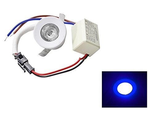 Faretto led ad incasso 1 watt mini spot punto luce tondo luce bianca 6500k calda 3000k e blu driver 220v con bordo bianco p-31b (Luce blu) A21