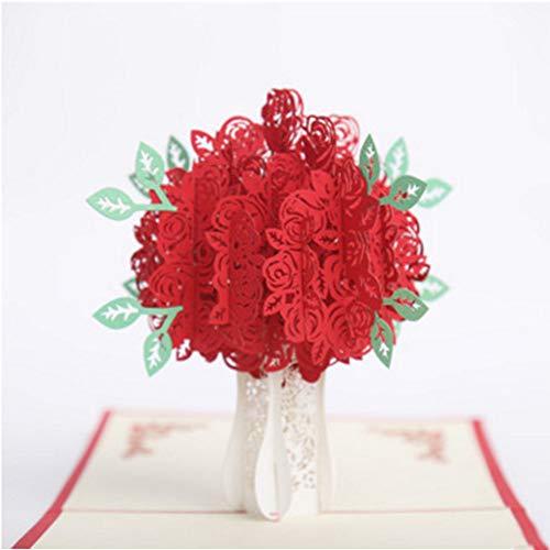 ETbotu trouwkaart, deko hochzeit,3D Holle Roos met vaas vorm wenskaart voor bruiloft