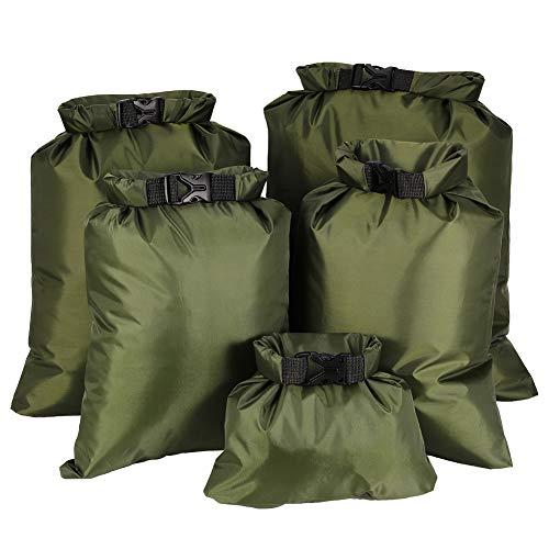Yumi V Dry Bag Waterproof Bag Set, 5Pcs Portable Big Capacity Combo Pouch (1.5L+2.5L+3.5L+4.5L+6L) Ultralight Dry Sacks Outdoor Storage Bag for Camping Boating Kayaking Rafting Drifting (Army Green)