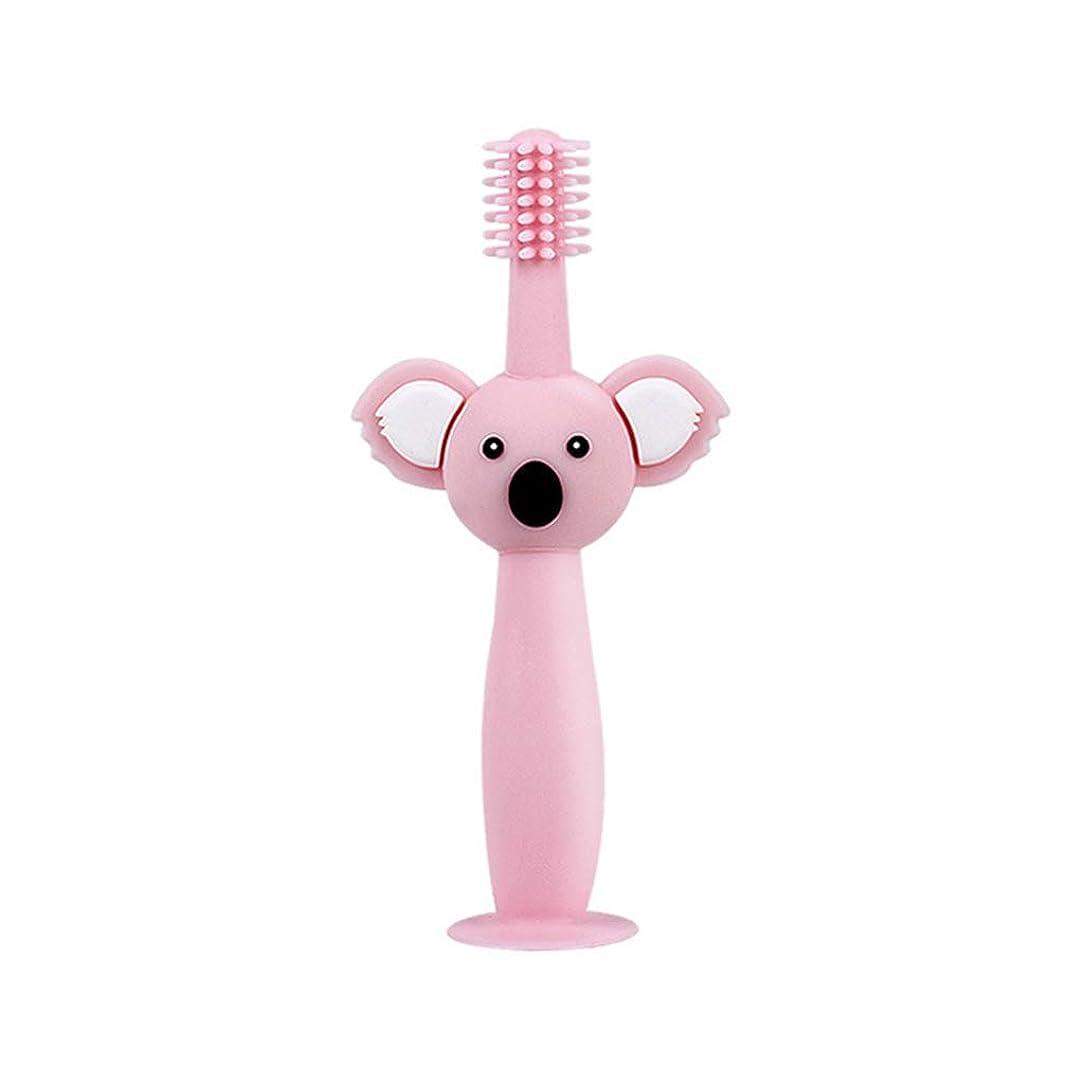 請求可能発表する腸Biuuu 360°赤ちゃん歯ブラシコアラ頭ハンドル幼児ブラッシング歯トレーニング安全なデザインソフト健康シリコーン幼児口腔ケア (ピンク)