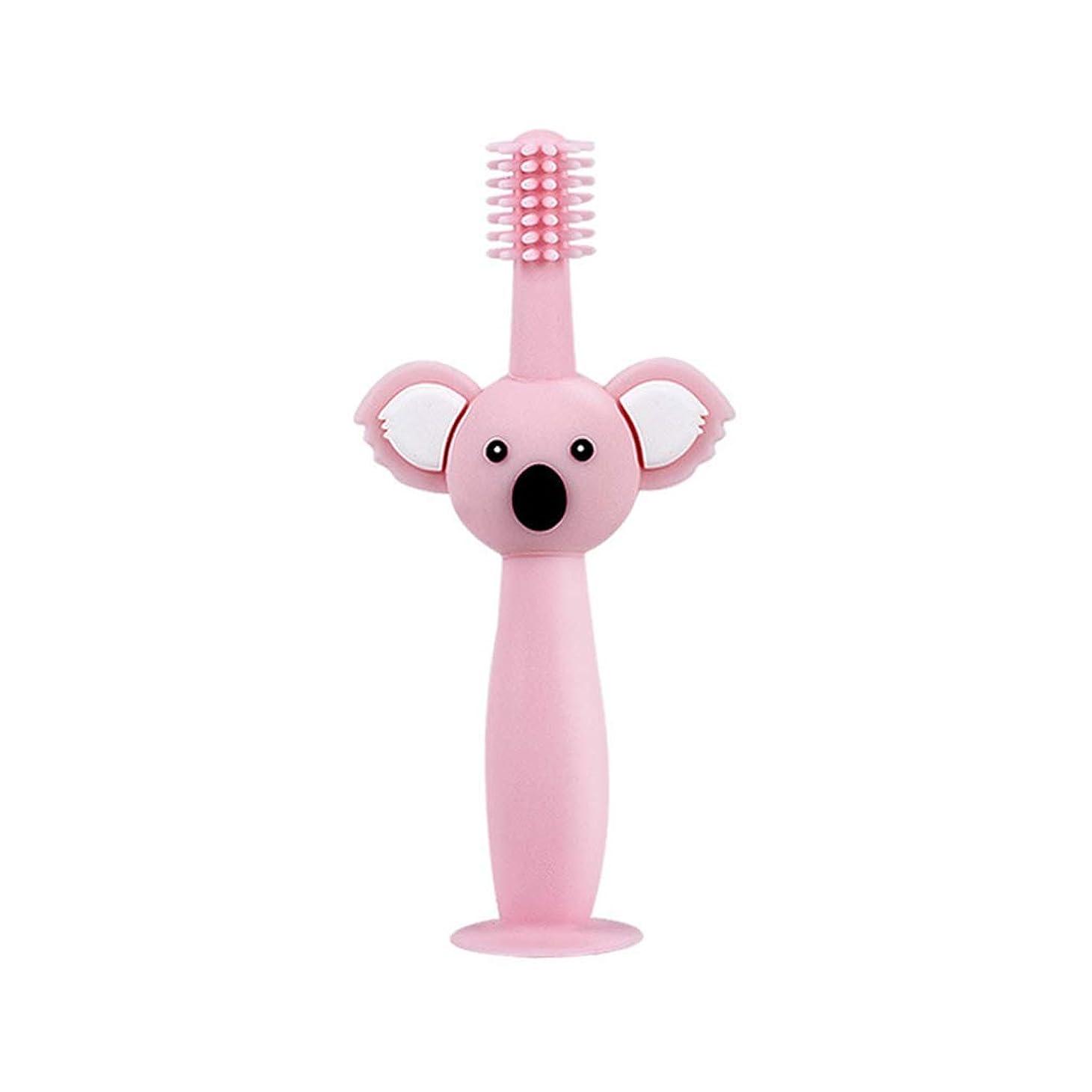独占ウェイター抵当Biuuu 360°赤ちゃん歯ブラシコアラ頭ハンドル幼児ブラッシング歯トレーニング安全なデザインソフト健康シリコーン幼児口腔ケア (ピンク)