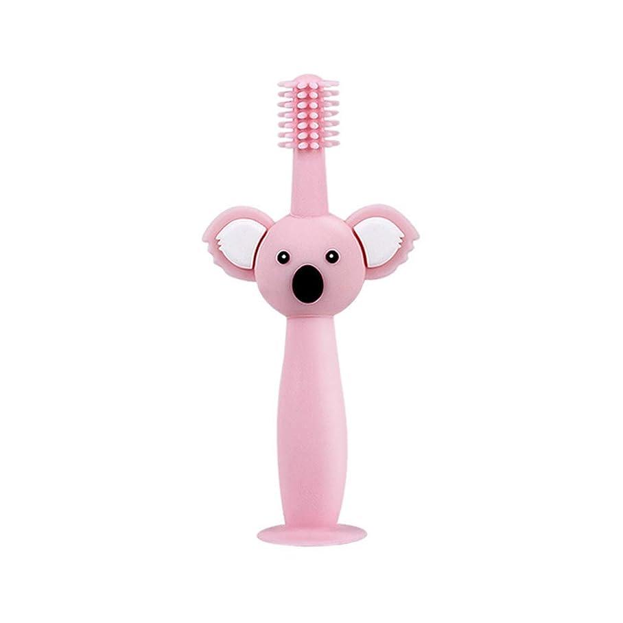 機械的黙認する雪だるまBiuuu 360°赤ちゃん歯ブラシコアラ頭ハンドル幼児ブラッシング歯トレーニング安全なデザインソフト健康シリコーン幼児口腔ケア (ピンク)