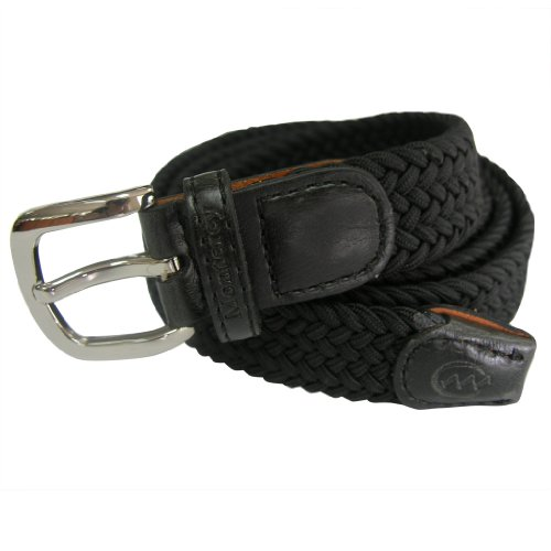 Monterey Club Women's Woven Elastic Braided Belt with Brushed Silver Buckle #BL02 (Black, Large)