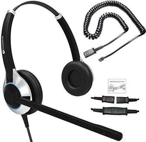 TruVoice HD-550 Deluxe Auriculares Ear Doble con cancelación de Ruido de micrófono y Cable de Fondo Que Funciona con Mitel, Nortel, Avaya Digital, Polycom VVX, Shoretel, Aastra, Fanvil