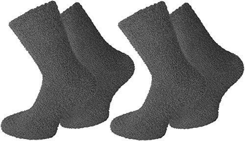 normani 2 Paar Kuschelsocken/Bettsocken/Socken Stripe Geringelt mit Elasthan Farbe Uni/Anthrazit Größe 43/46
