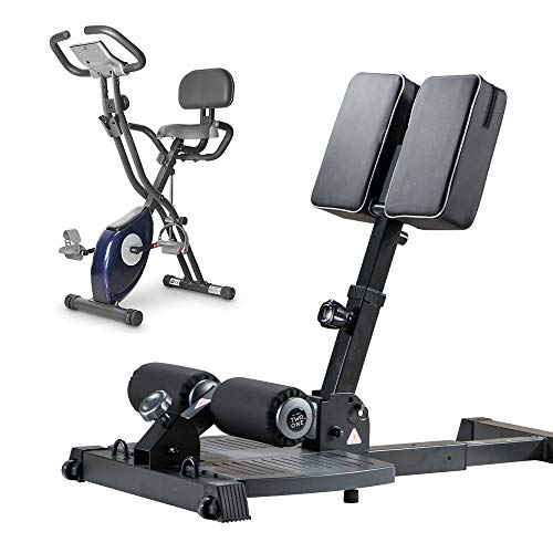 leikefitness Sissy Squat Machine 83002 and Folding Exercise Bike 2200(Blue) Bundle
