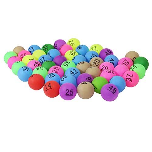 Toyvian 50 Stücke Lotterie Bälle Sortierte Farbe PP Tischtennisbälle 40mm Gedruckt Ping Pong Bälle Mit Nummer für Spiel Party Dekoration