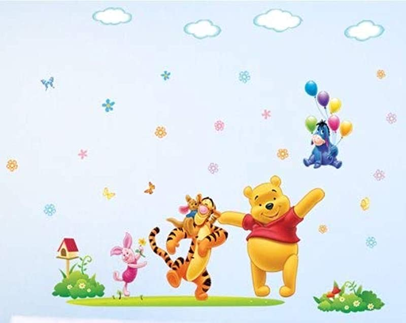 GoBuyMall Peel And Stick Wall Decals Stickers For Children Kids Baby Nursery Wall Art Room Decor Winnie The Pooh