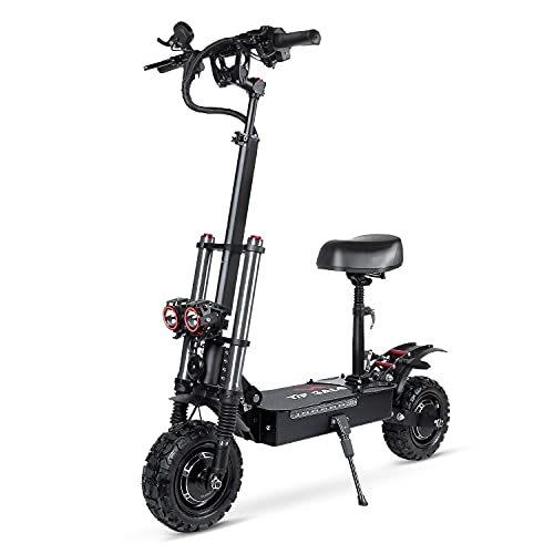 """Electric Kick Scooter High Power Dual Drive 5600W Motor Top Speed 70KM/H 11"""" Vacuum Off-Road Tire, Adult Electric Scooter with Foldable Seat Removable"""