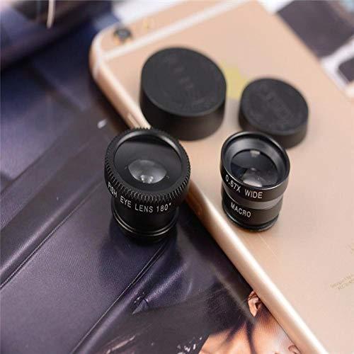 Kit De Lente para Teléfono Celular, Kit De Lente Macro Ojo De Pez Gran Angular 3 En 1 con Clip 0.67X Teléfono Móvil Lente De Ojo De Pez Telescopio para Lente De Teléfono Móvil Negro