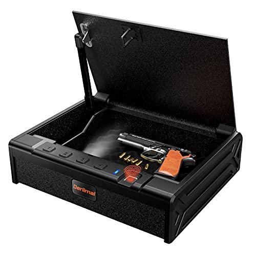 Derlimal Gun Safe for Pistols, Biometric Fingerprint Quick Access Lock, Portable Handgun Safety Case, Auto-Open Lid Firearm Storage Box for Home