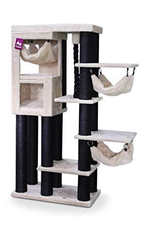 Petrebels Katzenparadies Avenue 161 Beige Höhe Qualität Kratzbaum mit XXL Dicker Ø 12cm Stämme und Sisal-Seil Farbe Beige Creme