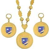 TTDAltd Collar Conjuntos de Joyas Marshall Colgante de Bandera yaretes Grandes Cuentas de Bolas Redondas Collares de Cadena Joyas Marshallese