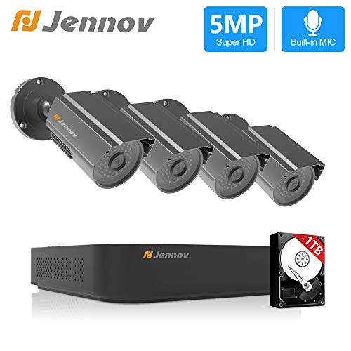 CCTV Security Camera System, Jennov 8CH H.264+ Home Surveillance Security DVR Kit with 1TB HDD, 4PCS 5MP Outdoor Bullet Cameras Waterproof,Audio Recording,Email Alert,24/7 Home Business Monitoring