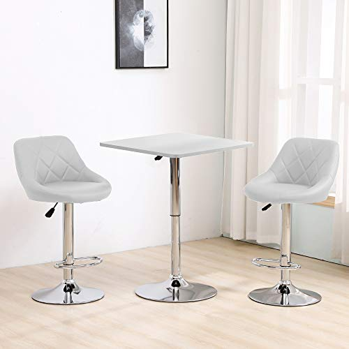Ansley&HosHo-EU Set of 3 Bar Set Bistro Set, Height Adjustable Square Bar Table with 2 Bar Stools, White Bar Table White Faux Leather Swivel Barstool Chairs with Chrome Base for Kitchen Pub Breakfast