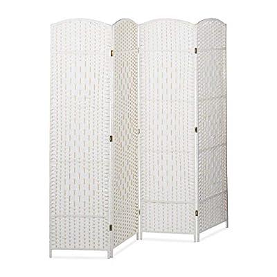 Plegable: biombo separador de bambú en blanco; 179 x 180 x 2 cm; 4 paneles; dormitorio y vestidor Ahorra espacio: el biombo decorativo se puede plegar rápidamente y guardar sin apenas ocupar espacio Privacidad: parabán con paneles de 45 cm de ancho; ...