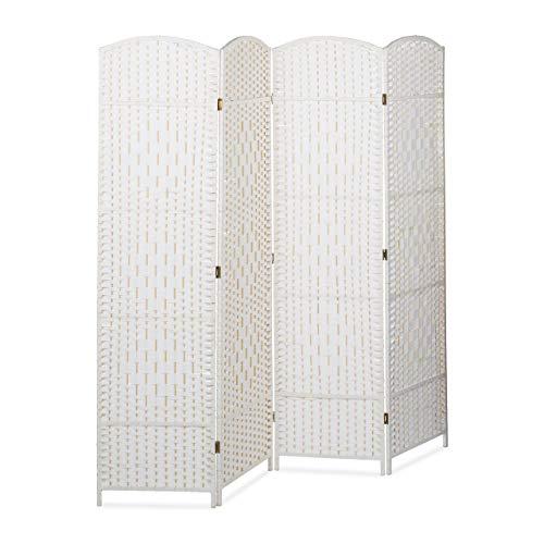 Relaxdays Paravent BYÖBU hoch H x B x T: 179 x 180 x 2 cm faltbarer Sichtschutz aus 4 Elementen auch als Raumteiler mit Bambus Streben Spanische Wand und blickdichter Raumtrenner aus Holz, weiß