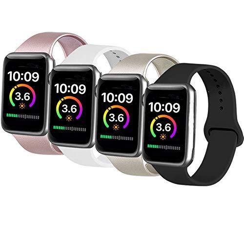 AK 4er-Set Kompatible Für Apple Watch Armband 38mm 42mm 40mm 44mm, Weiche Silikon Ersatz Armband für Apple Watch Series 5/4/3/2/1 (#Roségold/Gold/Schwarz/Weiß, 38mm/40mm-S/M)