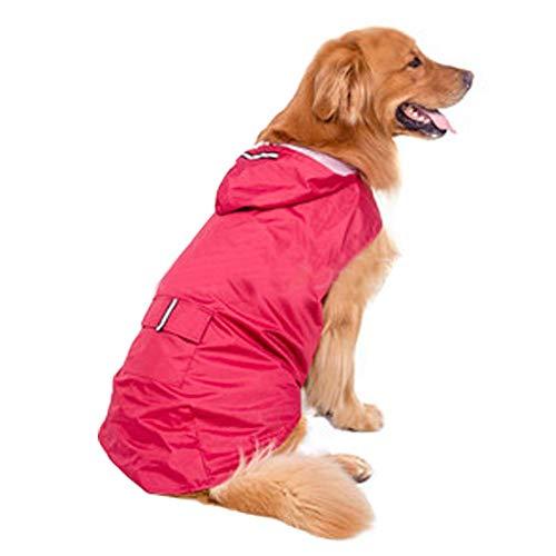 LQSJB Outdoor Puppy Pet Regenjas, Waterdicht Ultra-Licht Ademend Regenjack met Veilige Reflecterende Strips voor Medium tot Grote Hond, Roze, 6XL