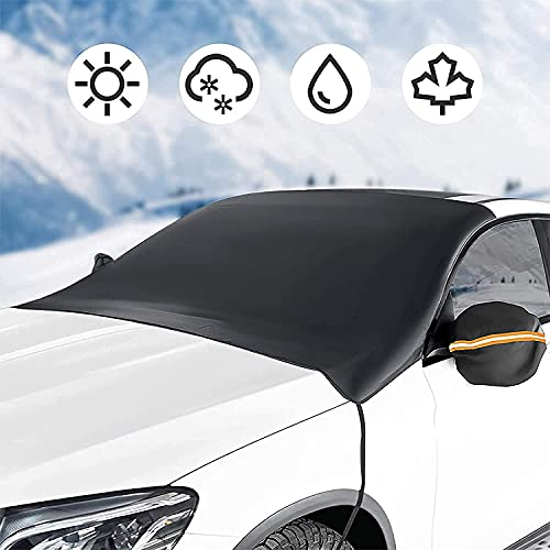 LOFTEK Windshield Cover, Car Sun Shade for Front Windshield, Extra Large Double Sided Windproof Waterproof All-Round Protection Cover Fits for Most Vehicles, Cars and Trucks for All Weather(85.8'x51')