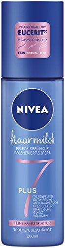 Nivea Haarmilch Pflege-Sprühkur für feine Haarstruktur im 2er Pack (2 x 200 ml), duftendes Hitzeschutzspray ohne Mineralöle, entwirrendes Pflegespray zur Kräftigung & gegen Haarbruch