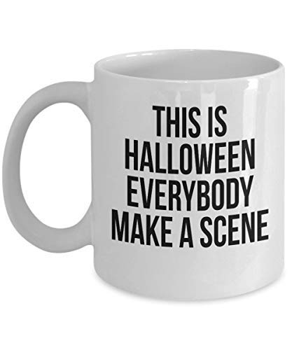 Queen54ferna Halloween escena fantasma bruja lobo muerto disfraz fiesta cara aterradora divertido truco o trato impreso taza de caf ideas de regalo