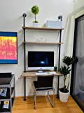 Industrial Style Laptop Desk Solid Wood Computer Desk Storage Table with Shelves Wall Shelf Bookshelf Floating Shelves for Home Office(Gray,Depth 14in)