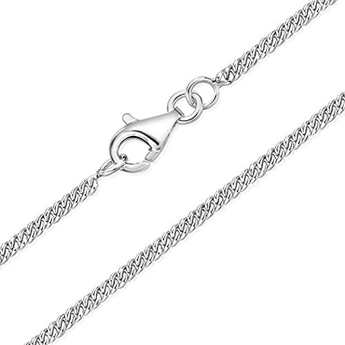 DTPsilver - Cadena de plata fina 925 con cierre de mosquetón, grosor de 2 mm, longitud 40, 45, 51, 55, 61 cm,