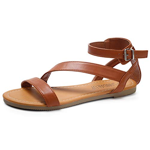 SANDALUP Flat Sandals with Oblique Band Ankle Strap for Women Brown 07.5
