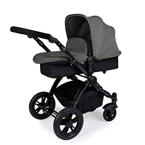 Ickle Bubba Stomp V2 All in One Travel System | Bundle Includes Carrycot, Pushchair, Car Seat, Accessories | Graphite Grey on Black Chassis