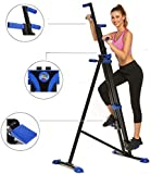 Hurbo Vertical Climber Home Gym Exercise Folding Climbing Machine Exercise Bike for Home Body Trainer Stepper Cardio Workout Training Non-Stick Grips Legs Arms Abs Calf(Black Blue)