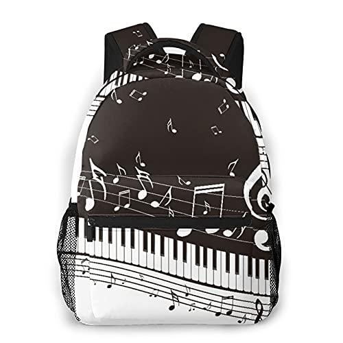 Mochila de viaje para computadora portátil,resumen de teclas de un piano con notas musicales,mochila antirrobo resistente al agua para grandes empresas Mochila escolar universitaria delgada y duradera
