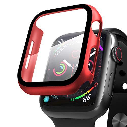 Qianyou Compatible avec Apple Watch 42 mm Series 3/2/1 avec protection d'écran, PC + film en verre blindé - Film de protection rigide ultra fin - Rouge
