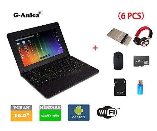 Netbook Ordinateur Portable Ultrabook Android 4.2 HDMI (WiFi-SD-MMC),Sac d'ordinateur Portable+Souris +Adapter +Carte SD+Lecteur de Carte+Casque(6 PCS Accessoires) (10 inches, Noir)