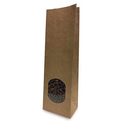 500 Blockbodenbeutel, Natronpapier mit Sichtfenster 80+50x250mm, für ca. 250g, BRAUN - Standbodenbeutel / Stehbeutel / Tüte / Beutel / Teetüte / Kaffeebeutel / Bodenbeutel (0,11€ / Stück)