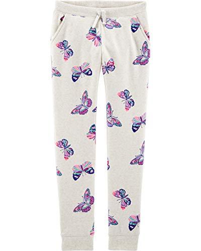 Osh Kosh Girls' Toddler Logo Fleece Pants, Oatmeal Butterflies, 4T