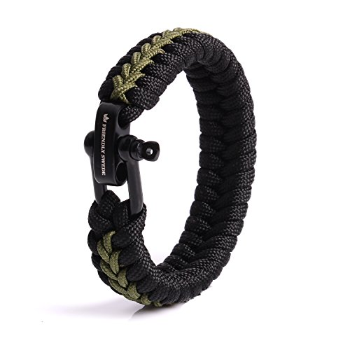 The Friendly Swede Paracord Survival Armband mit Micro-Cord - größenverstellbar (Armeegrün Small)