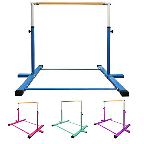 GLANT Gymnastic Kip Bar,Horizontal Bar for Kids Girls Junior,3' to 5' Adjustable Height,Home Gym Equipment,Ideal for Indoor and Home Training,1-4 Levels,300lbs Weight Capacity (Blue)