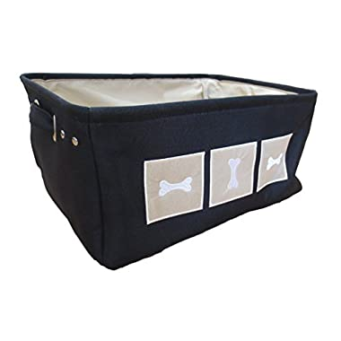 Winifred & Lily Pet Toy and Accessory Storage Bin, Organizer Storage Basket for Pet Toys, Blankets, Leashes and Food. Dog Bones, Navy